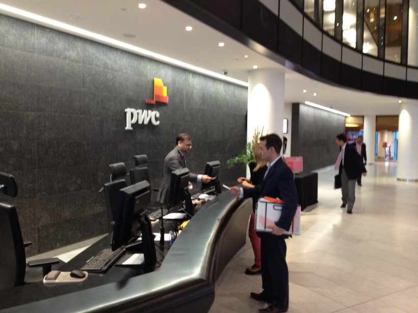 Handing in the PwC security pass